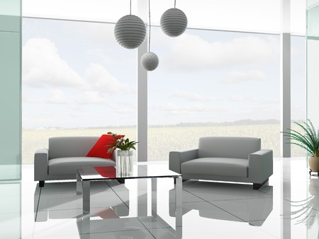 floor lamp: White sofa in a rest room 3d image Stock Photo