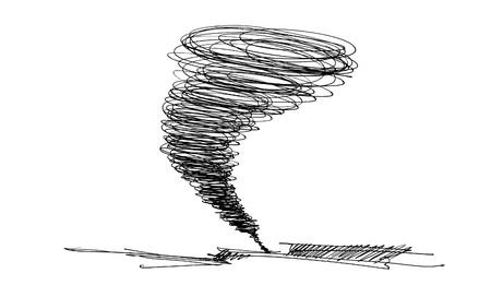 白い背景の上に鉛筆で描かれてハリケーンのスケッチ