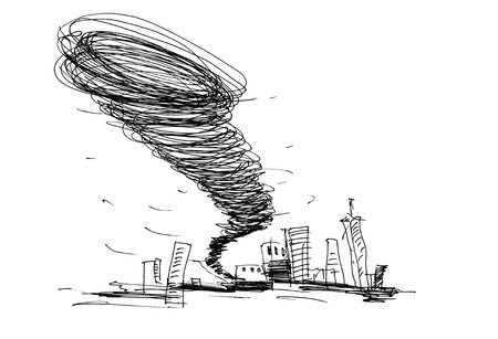 windstorm: sketch of the hurricane drawn by pencil on white background