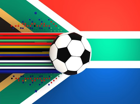 socca: soccer ball on background of the flag souht africa
