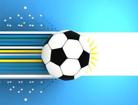 socca: pallone da calcio sullo sfondo della bandiera Argentina