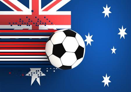 socca: pallone da calcio sullo sfondo della bandiera australia