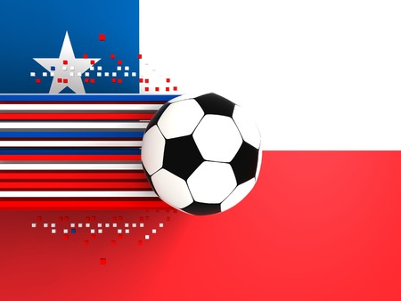 socca: soccer ball on background of the flag chile