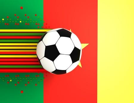 socca: pallone da calcio su sfondo di bandiera Camerun