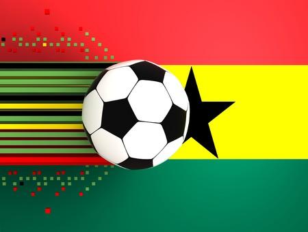 socca: pallone da calcio sullo sfondo della bandiera ghana