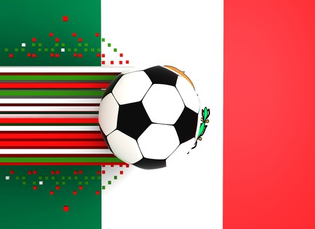 socca: soccer ball on background of the flag mexico