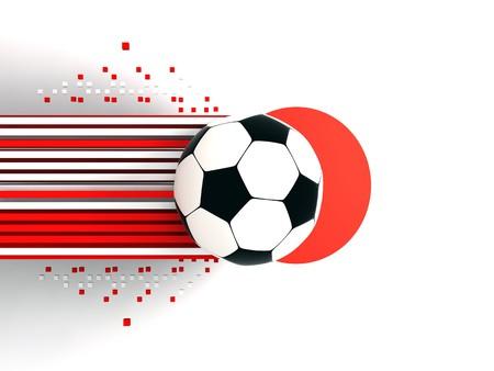 socca: pallone da calcio sullo sfondo di bandiera Giappone Archivio Fotografico
