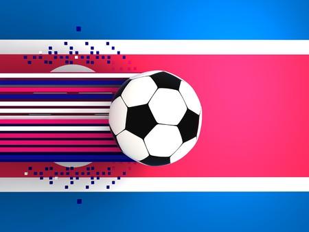 socca: pallone da calcio sullo sfondo della bandiera Corea del Nord