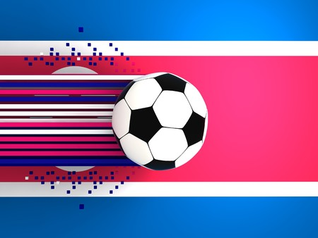 socca: soccer ball on background of the flag korea north
