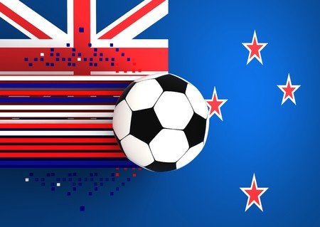 socca: pallone da calcio sullo sfondo della bandiera la nuova Zelanda