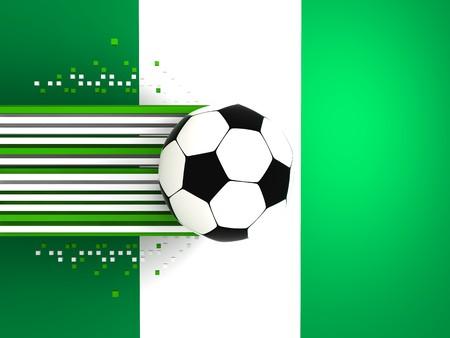 socca: pallone da calcio sullo sfondo della bandiera nigeria
