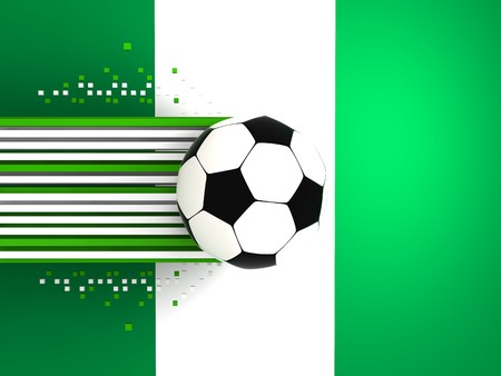socca: soccer ball on background of the flag nigeria