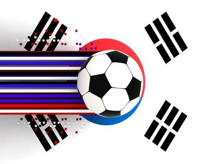 socca: pallone da calcio sullo sfondo della bandiera souht Corea