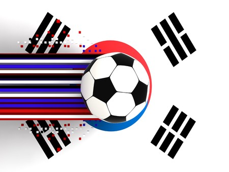 socca: soccer ball on background of the flag souht korea