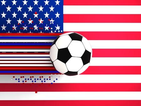 socca: pallone da calcio sullo sfondo della bandiera usa