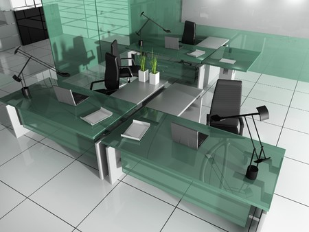 The modern interior of office 3d image Stock Photo - 7074921