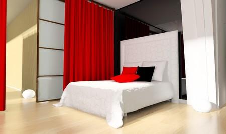 Bedroom in modern style 3d rendering Stock Photo - 7463815
