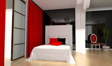 Bedroom in modern style 3d rendering Stock Photo - 7463814