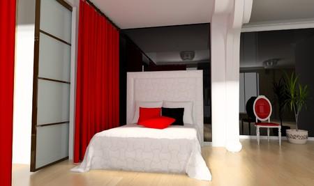 Bedroom in modern style 3d rendering Stock Photo - 7463814