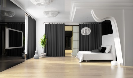 Bedroom in modern style 3d rendering photo