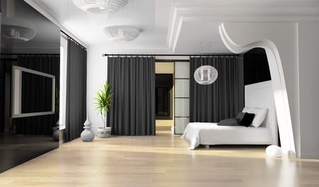 Bedroom in modern style 3d rendering Stock Photo - 7805744