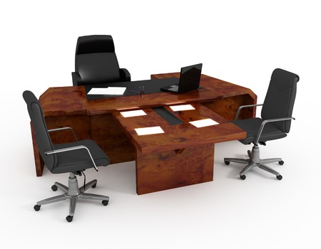 office space: Set of office furniture on a white background Stock Photo