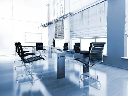 studio lighting: The modern interior of office 3d image