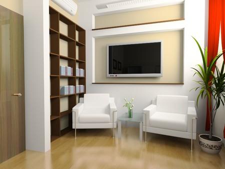 モダンなインテリアのオフィス残り 3 d イメージを配置します。 写真素材