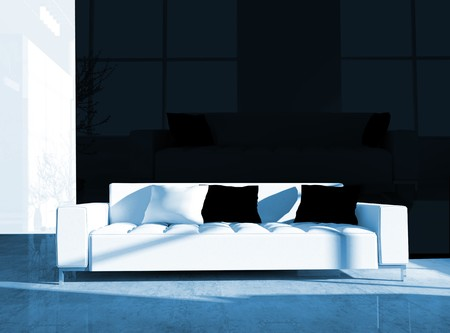 Furniture in a modern inter 3d image Stock Photo - 7966336