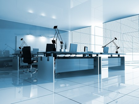 modern office interior: The modern interior of office 3d image