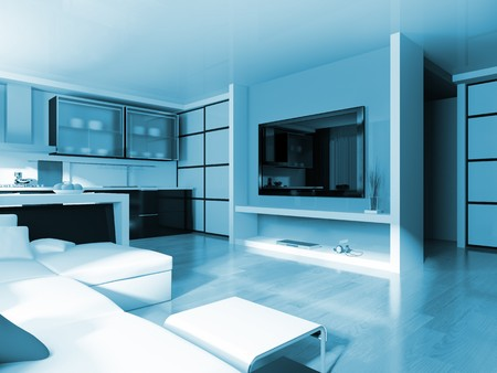 modern white drawing room 3d image Stock Photo - 8108478