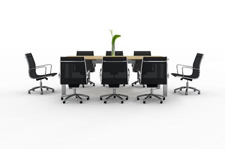 白い背景の上のオフィス用家具のセット