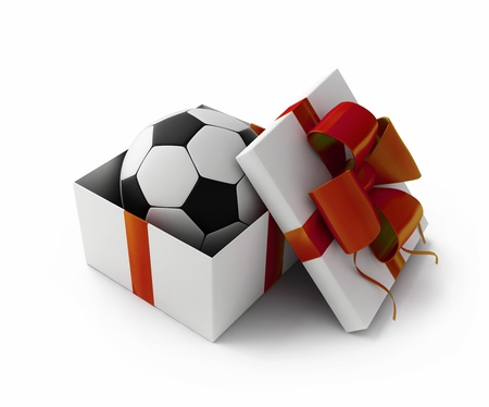 Football in a gift box 3d rendering photo