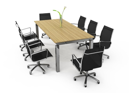 Set of office furniture on a white background Stock Photo