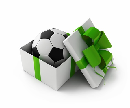 Football in a gift box 3d rendering Stockfoto