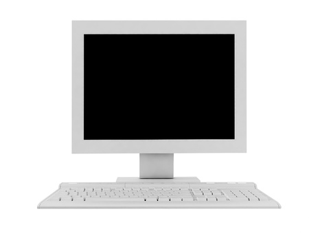 The white monitor and keyboard photo