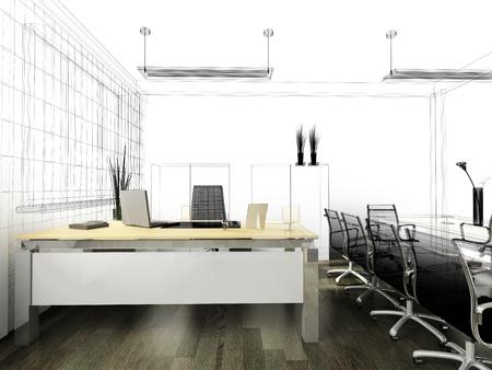mobiliario de oficina: El interior moderno de imagen 3d de Oficina