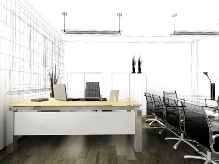 The modern interior of office 3d image Stock Photo - 8694987