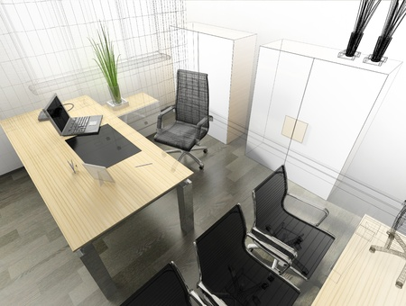 furniture design: The modern interior of office 3d image