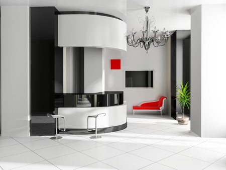 living hall: Hall of hotel in agoys 3d image Stock Photo