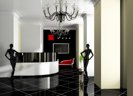 Hall of hotel in agoy 3d image photo