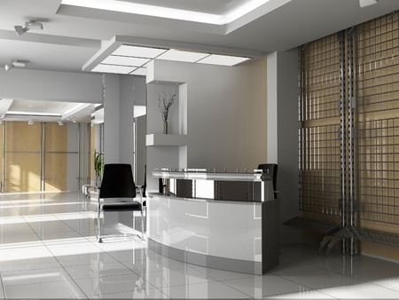 interior decorating: Hall of office in agoy 3d image
