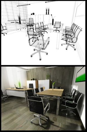 The modern interior of office 3d image Stock Photo - 8886063