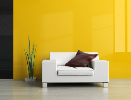 modern sofa: White sofa in a drawing room 3d image