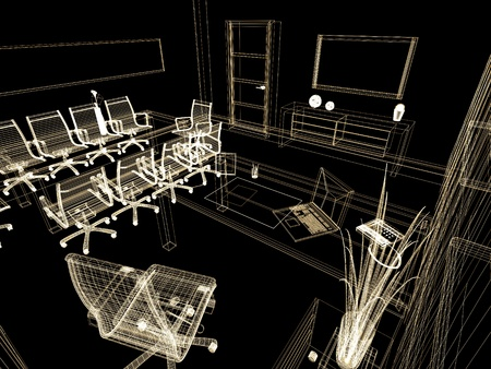 business life line: The modern interior of office 3d image