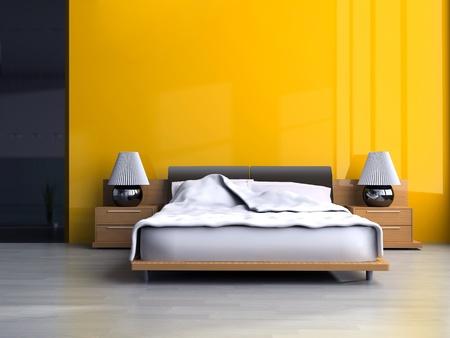 モダンなスタイルの 3 d レンダリングの寝室