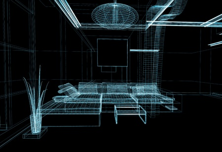 modern white drawing room, linear isolated drawing photo