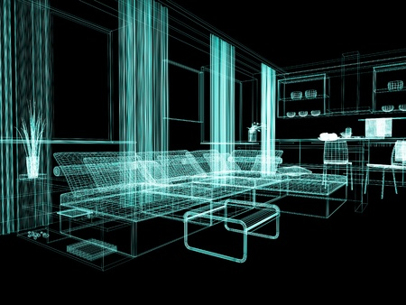 home lighting: modern white drawing room 3d image