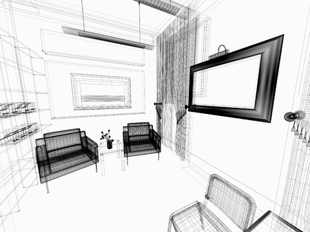 furniture design: modern white drawing room Stock Photo