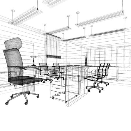 muebles de oficina: Interior de oficina en estilo cl�sico representaci�n 3d Foto de archivo